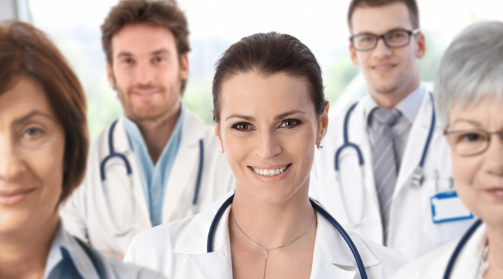 Female doctor with medical team